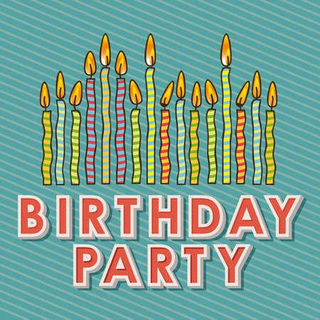 velitas de cumpleaños: Velas del feliz cumpleaños sobre azul ilustración de fondo Vectores