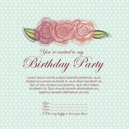fayer: roses  invitation birthday over blue background illustration Illustration