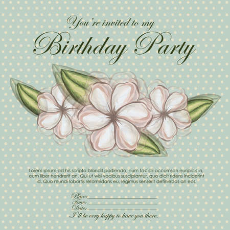 floral invitation birthday over blue background illustration  Stock Vector - 19918444