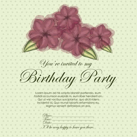 fayer: floral invitation birthday over yellow  background illustration  Illustration