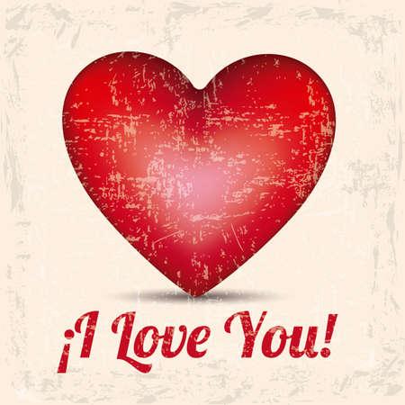 heart  love: i love you over vintage background vector illustration  Illustration