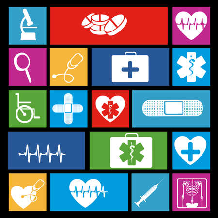 medical icons over black background vector illustration  Vector