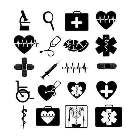 pictogramme: examens m�dicaux ic�nes monochromes sur fond blanc illustration vectorielle