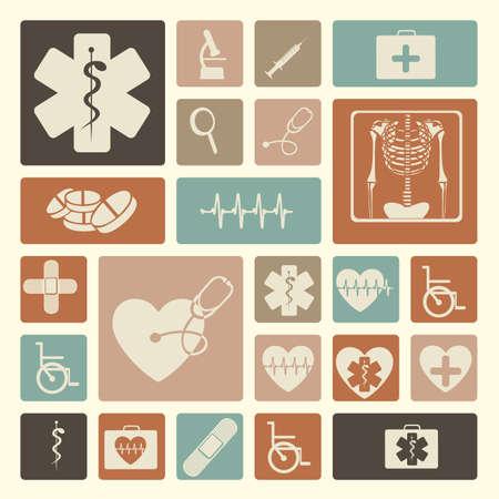 estetoscopio corazon: Iconos m�dicos sobre fondo de color rosa ilustraci�n vectorial