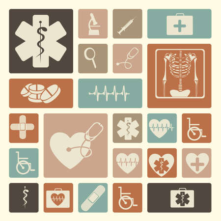hilfsmittel: medizinische Symbole �ber rosa Hintergrund Vektor-Illustration
