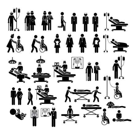 emergencia medica: Siluetas m�dicos sobre fondo blanco ilustraci�n vectorial Vectores