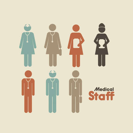 cadre: medicall staff over cream background vector illustration  Illustration