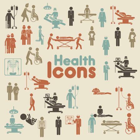 emergencia medica: Iconos de la salud sobre el fondo helado ilustraci?n vectorial Vectores