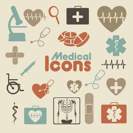 hilfsmittel: medizinische Symbole �ber Creme Hintergrund Vektor-Illustration