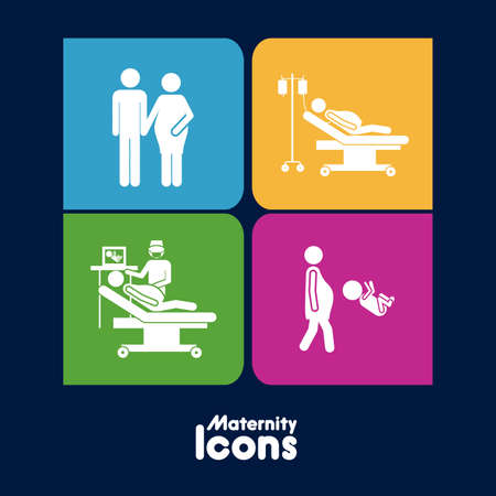 maternity icons over black background vector illustration  Vector