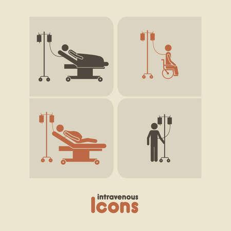 blood type: iconos intravenosos sobre fondo beige ilustraci�n vectorial Vectores