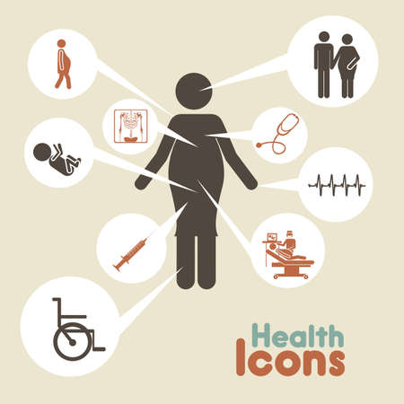 health icons  over beige background vector illustration Vector