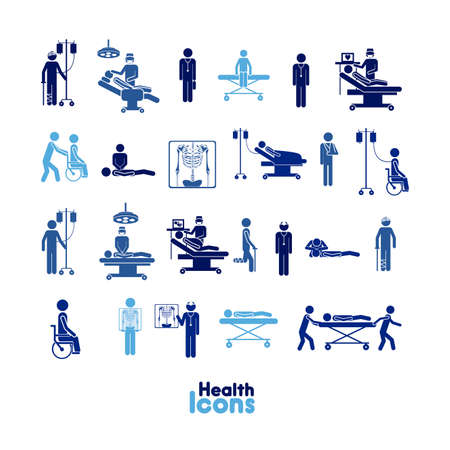 health icons over white background vector illustration    Çizim