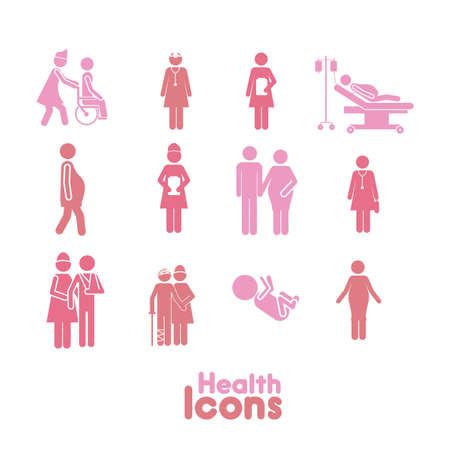 healths iconos de color rosa sobre fondo blanco ilustración vectorial Ilustración de vector