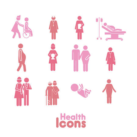 orthop�die: sant�s ic�nes rose sur fond blanc illustration vectorielle