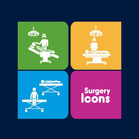operating room: Iconos de la cirug�a sobre fondo negro ilustraci�n vectorial