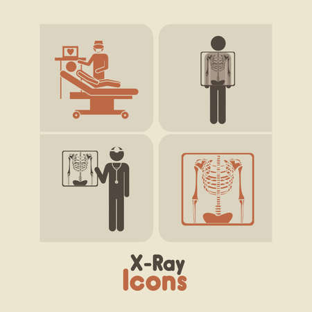 radiologist: x-ray icons over cream background vector illustration