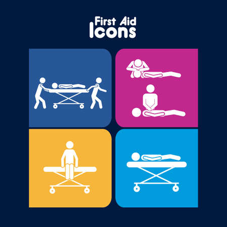 medicine cabinet: first aid icons over blue background vector illustration