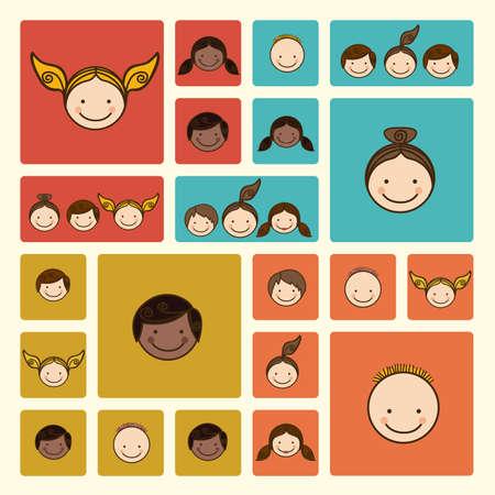 baby cartoon: world people over cream background vector illustration