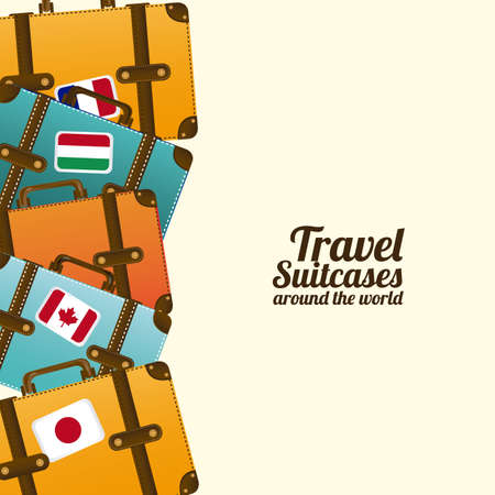 travel cartoon: travel suit cases  over white background vector illustration  Illustration