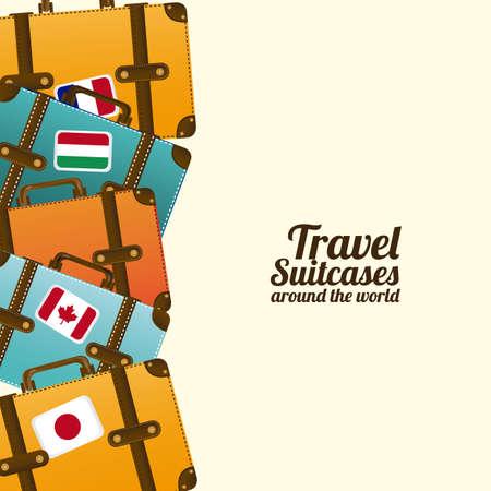 voyage: viajar maletas sobre fondo blanco ilustraci�n vectorial Vectores