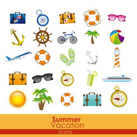 sandal tree: Iconos de las vacaciones de verano sobre fondo naranja ilustraci�n vectorial