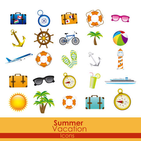 items: summer vacation icons over orange background vector illustration
