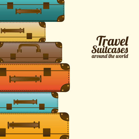 yellow adventure: travel suitcases over white background vector illustration