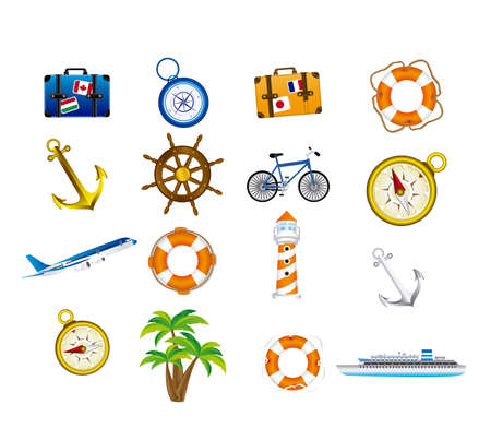 vacations icons over white background vector illustration  Vector