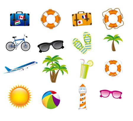 sandal tree: vacaciones iconos sobre el fondo blanco ilustraci�n vectorial
