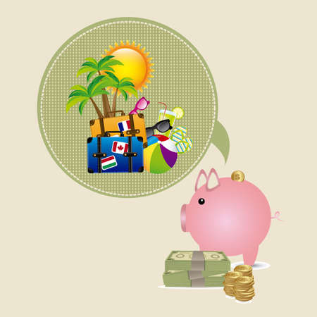 summer vacation savings over beige background vector illustration  Vector