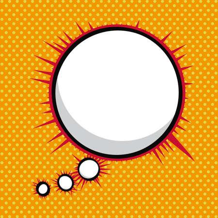 мысль: воображение значок комиксы на оранжевом фоне векторные иллюстрации
