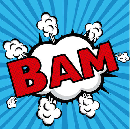 bam comics icon over blue background vector illustration  Vector