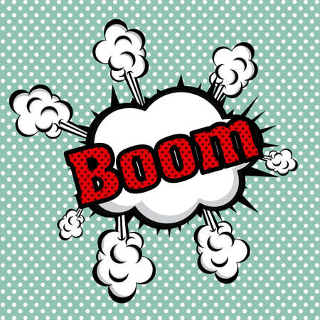 boom comics icon over dotted background vector illustration