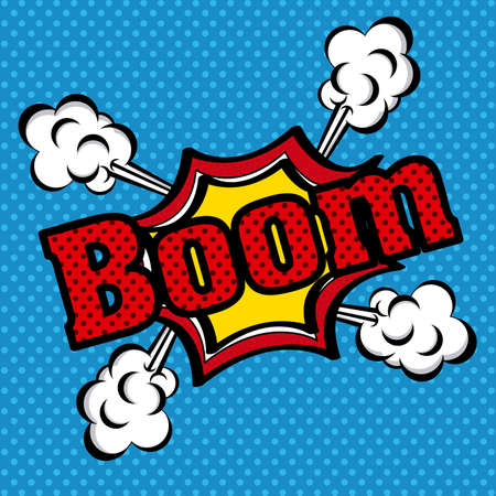 boom comics icon over dotted blue  background vector illustration   Vector