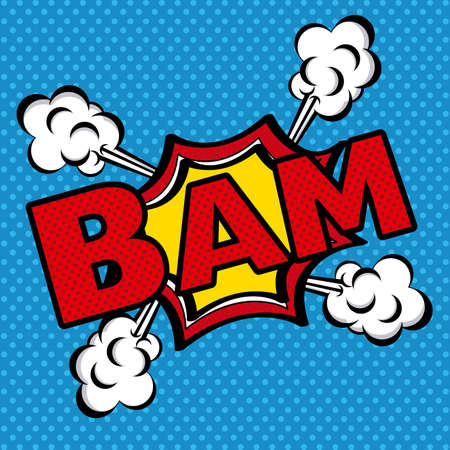 bam comics icon over blue background vector illustration