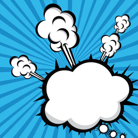 smoke icon over rays blue background vector illustration