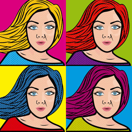 women comics over white background vector illustration  Vector