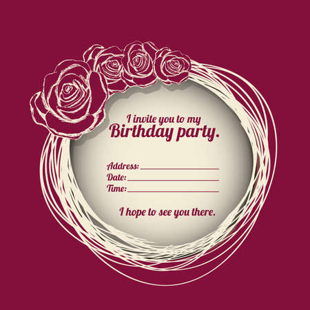 time frame: birthday party invitation over purple background vector illustration