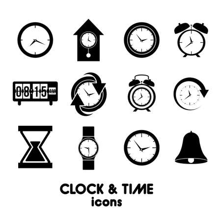 campanas: Iconos del reloj y la hora sobre el fondo blanco ilustraci�n vectorial Vectores