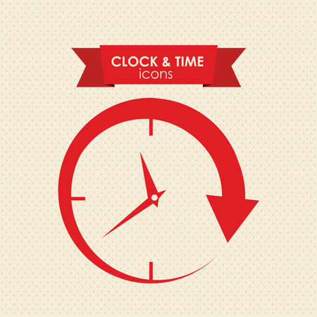 clock and time icon over white background vector illustration
