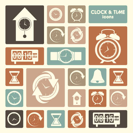 clock and time icons over cream  background vector illustration  Çizim