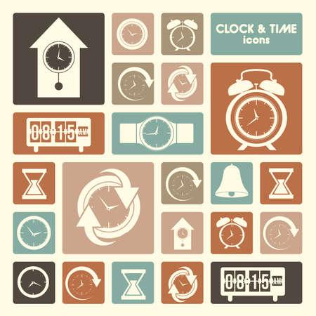 klok en tijd pictogrammen op crème achtergrond vector illustratie
