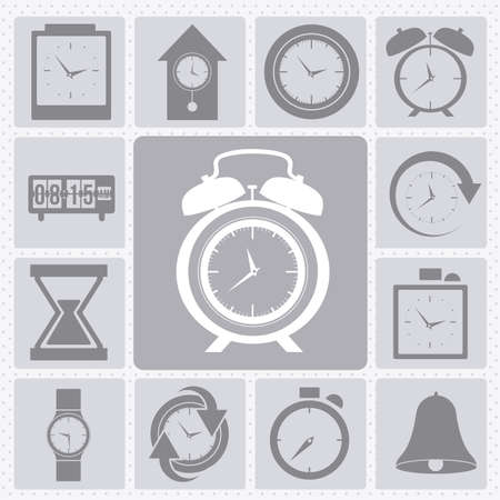 clock and time icons over gray background vector illustration Stock Vector - 20192547