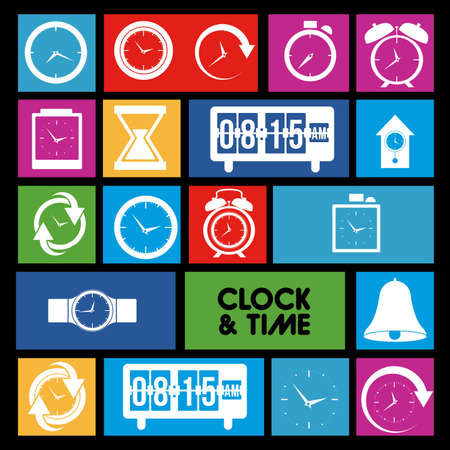 clock and time icons over colorful background vector illustration  Stock Vector - 20192522