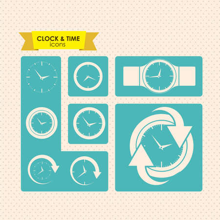 clock and time icons over dotted background vector illustration  Stock Vector - 20192550
