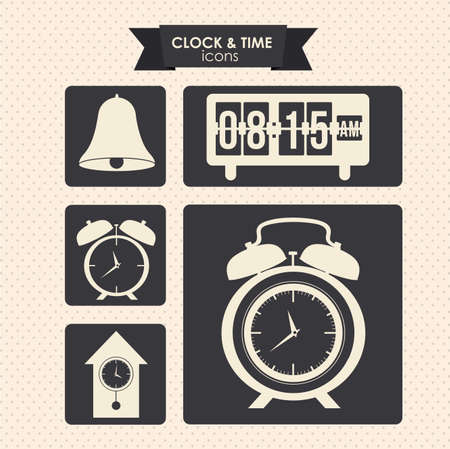 clock and time icons over dotted background vector illustration  Vector