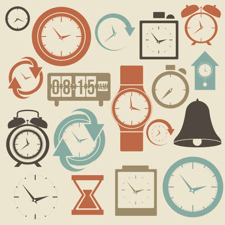 clock: clock and time icons over cream  background vector illustration  Illustration
