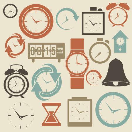 despertador: Iconos del reloj y la hora sobre el fondo helado ilustraci�n vectorial Vectores