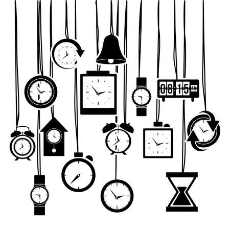 clock and time icons over white background vector illustration  Vector